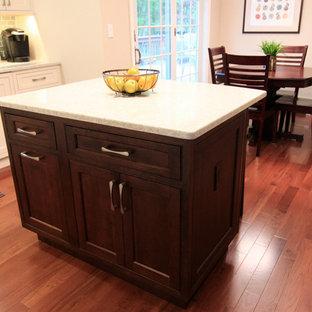 Direct Depot   Two-toned White Inset Kitchen with Tile Backsplash