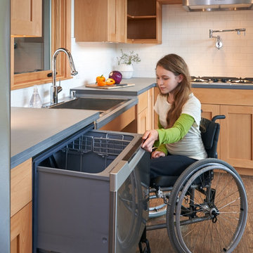 Dishwasher drawers allow for ease of loading and unloading.