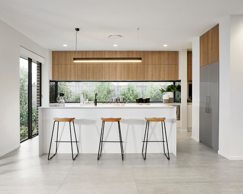 Design Ideas For A Modern Galley Open Plan Kitchen In Sydney With  Flat Panel Cabinets