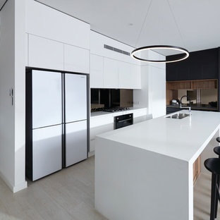 Inspiration for a modern galley kitchen in Sydney with an undermount sink, flat-panel
