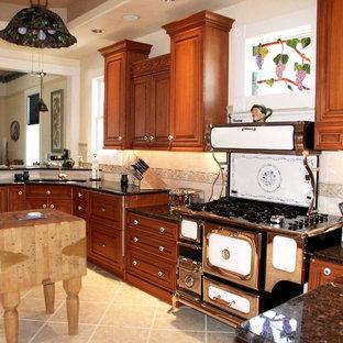 ボイシのヴィクトリアン調のおしゃれなキッチン (ダブルシンク、レイズドパネル扉のキャビネット、赤いキャビネット、御影石カウンター、ベージュキッチンパネル、パネルと同色の調理設備、磁器タイルの床) の写真