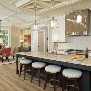 Photo of a beach style eat-in kitchen in Grand Rapids with recessed-panel cabinets, beige cabinets, beige splashback, stainless steel appliances, light hardwood floors, with island and quartzite benchtops.