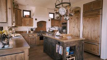 Distressed knotty alder kitchen in Aptos