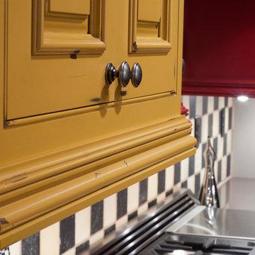 Distressed Rustic Light Rail - Mustard Yellow Cabinets
