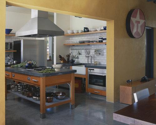 Cuisine industrielle avec un placard sans porte photos for Decoration cuisine urbaine