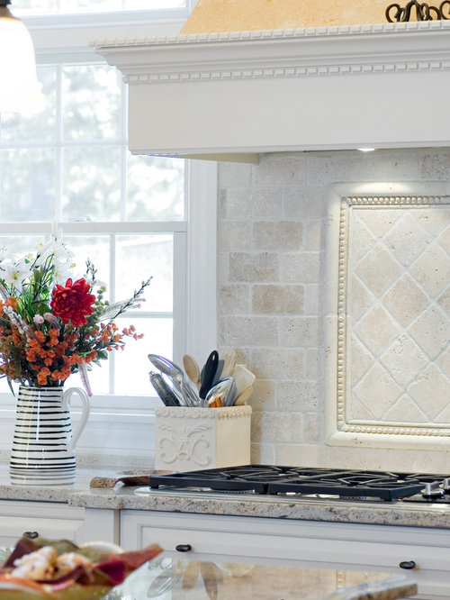 Tumbled Marble Backsplash Houzz