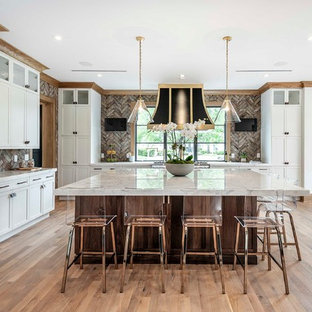 Transitional Kitchen Ideas   Example Of A Transitional Medium Tone Wood  Floor Kitchen Design In Orlando