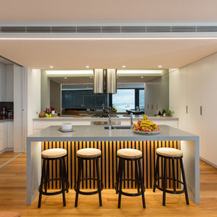 Inspiration for a large contemporary u-shaped separate kitchen in Newcastle - Maitland with light hardwood floors, a double-bowl sink, flat-panel cabinets, white cabinets, metallic splashback, mirror splashback, stainless steel appliances, with island and beige floor.
