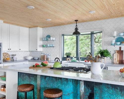 cuisine avec un plan de travail en terrazzo et un vier de ferme photos et id es d co de cuisines. Black Bedroom Furniture Sets. Home Design Ideas