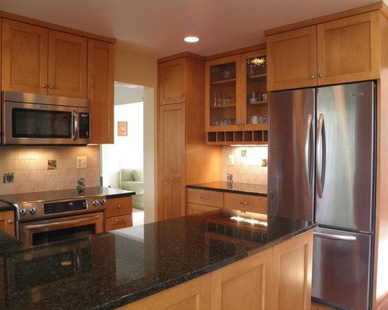 granite countertops maple cabinets | houzz