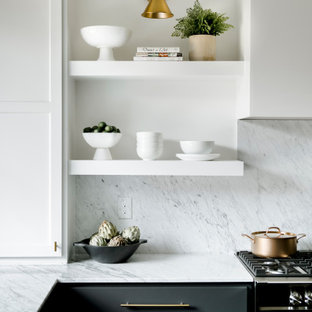 Photo of a transitional l-shaped kitchen in Other with open cabinets, white cabinets, marble benchtops, white splashback, marble splashback, stainless steel appliances and white benchtop.