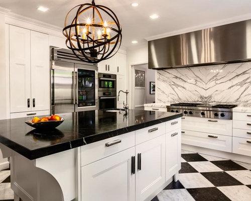 k che mit speckstein arbeitsplatte und marmorboden ideen bilder. Black Bedroom Furniture Sets. Home Design Ideas