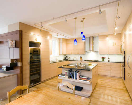 Trendy kitchen photo in Boston with an undermount sink & Track Lighting Ideas | Houzz azcodes.com