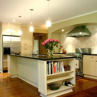 Imagen de cocina tradicional con electrodomésticos de acero inoxidable, puertas de armario beige, salpicadero beige y salpicadero de piedra caliza