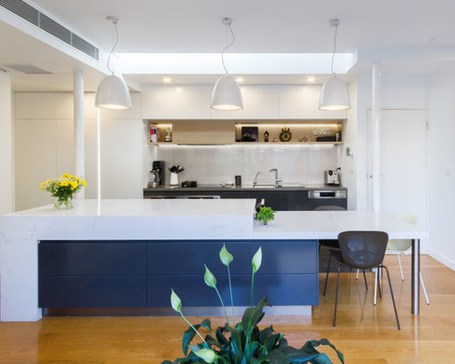 This Is An Example Of A Mid Sized Contemporary Galley Open Plan Kitchen In  Melbourne