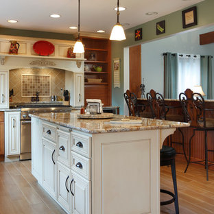 Kitchen - traditional kitchen idea in Other with raised-panel cabinets, beige cabinets and beige backsplash