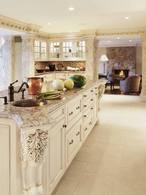 Example Of A Classic Kitchen Design In Boston With Recessed Panel Cabinets,  An Undermount
