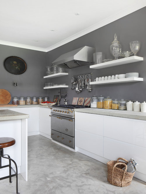 Delightful Grey And White Kitchen Part - 7: Inspiration For A Farmhouse Kitchen Remodel In Dorset With Flat-panel  Cabinets, White Cabinets