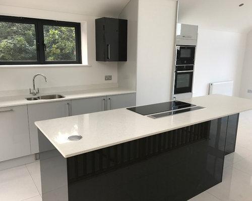 Dove Grey U0026 Graphite Gloss Slab Door Kitchen With Neff Appliances ...