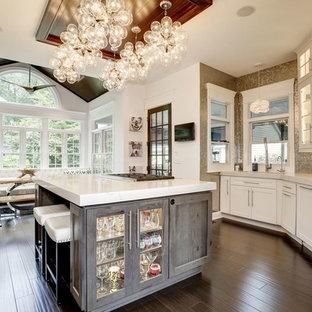 ボルチモアの中くらいのトランジショナルスタイルのおしゃれなキッチン (ガラス扉のキャビネット、白いキャビネット、メタリックのキッチンパネル、メタルタイルのキッチンパネル、濃色無垢フローリング、茶色い床、アンダーカウンターシンク、オニキスカウンター、シルバーの調理設備、白いキッチンカウンター) の写真