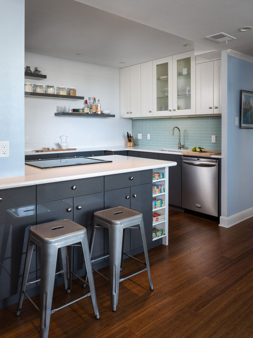 Trendy kitchen photo in Austin with flat-panel cabinets, gray cabinets,  quartz countertops