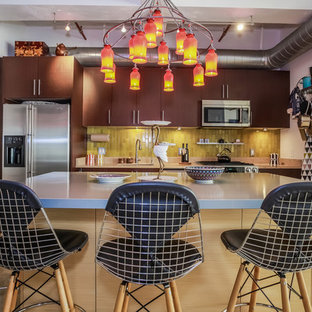 Eclectic kitchen in Los Angeles with an undermount sink, flat-panel cabinets, medium wood cabinets, zinc benchtops, green splashback, ceramic splashback, stainless steel appliances, concrete floors and with island.