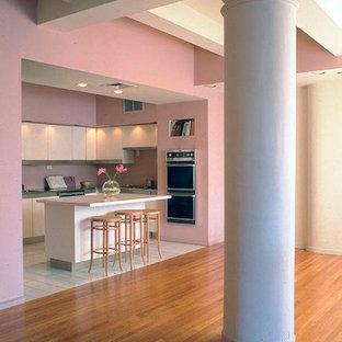 ニューヨークの中くらいのモダンスタイルのおしゃれなキッチン (ドロップインシンク、フラットパネル扉のキャビネット、白いキャビネット、タイルカウンター、ピンクのキッチンパネル、ガラスタイルのキッチンパネル、シルバーの調理設備、セラミックタイルの床、白い床) の写真