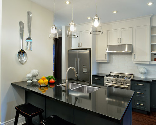 Trendy Galley Kitchen Photo In Toronto With A Double Bowl Sink, Shaker  Cabinets,