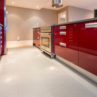 Downtown Vancouver Red Modern Kitchen, Open Concept and High End Appliances
