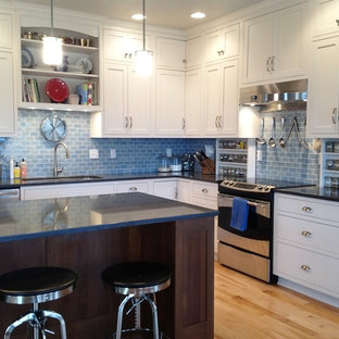 Dreamy Blue Subway Tile Kitchen