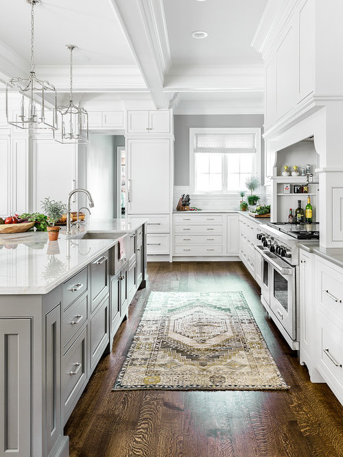 Inspiration For A Large Transitional Brown Floor And Dark Wood Floor  Kitchen Remodel In Chicago With