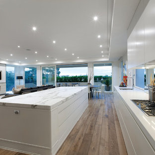 Modelo de cocina minimalista, abierta, con armarios con paneles lisos, puertas de armario blancas, encimera de mármol y salpicadero con efecto espejo