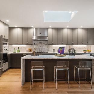 Large Contemporary Kitchen Inspiration   Large Trendy L Shaped Medium Tone  Wood Floor Kitchen Photo