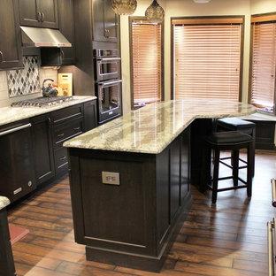 他の地域の中サイズのトランジショナルスタイルのおしゃれなキッチン (アンダーカウンターシンク、フラットパネル扉のキャビネット、グレーのキャビネット、クオーツストーンカウンター、グレーのキッチンパネル、ガラスタイルのキッチンパネル、黒い調理設備、クッションフロア、マルチカラーの床) の写真
