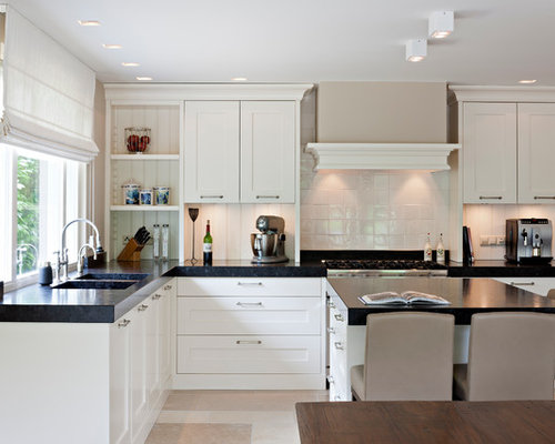 Transitional L Shaped Kitchen Idea In New York With A Double Bowl Sink