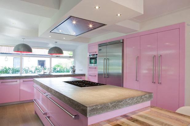 9 cuisines osent le rose for Meuble de cuisine rose