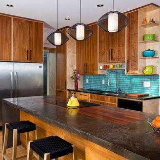 Example of a trendy light wood floor kitchen design in Kansas City with an undermount sink, flat-panel cabinets, medium tone wood cabinets, blue backsplash, stainless steel appliances and an island