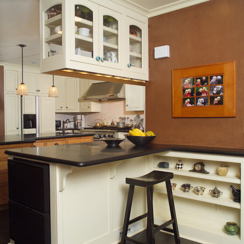 Example Of An Eclectic Kitchen Design In San Francisco With Beige Cabinets,  Granite Countertops,