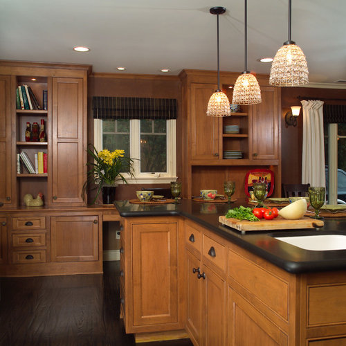 Medium Wood Kitchens: Dark Floor Light Cabinet Home Design Ideas, Pictures