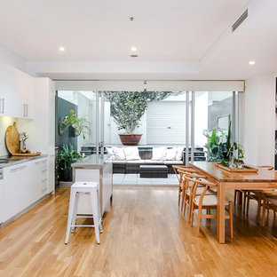 Inspiration For A Large Scandinavian Single Wall Eat In Kitchen In Adelaide  With A