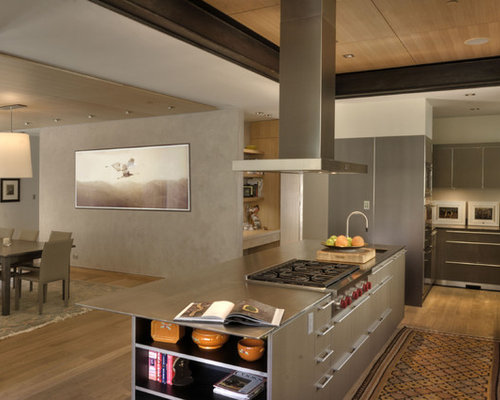 Trendy Kitchen Photo In Denver With Stainless Steel Appliances