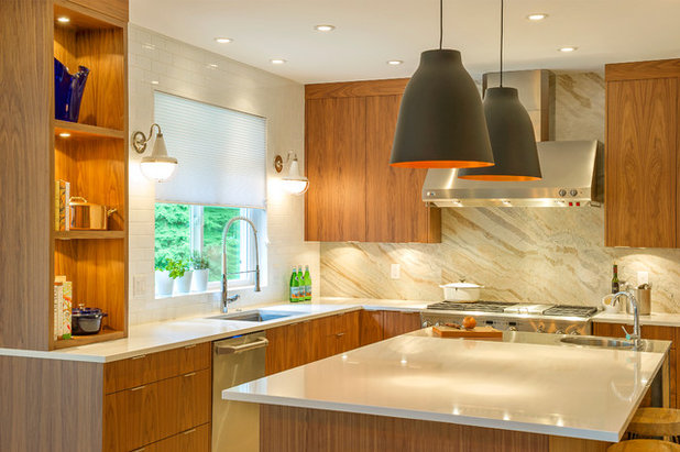 Contemporary Kitchen by Laura Grist Interior Design - Why You Should Embrace A Solid Slab Backsplash