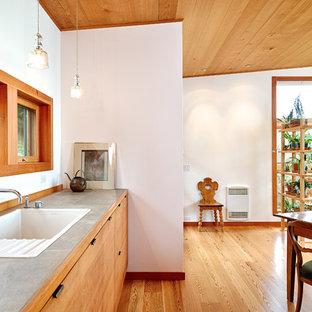 Immagine di una piccola cucina minimalista con ante lisce, ante in legno chiaro, top piastrellato, parquet chiaro, nessuna isola, lavello da incasso, elettrodomestici in acciaio inossidabile, pavimento marrone e top grigio