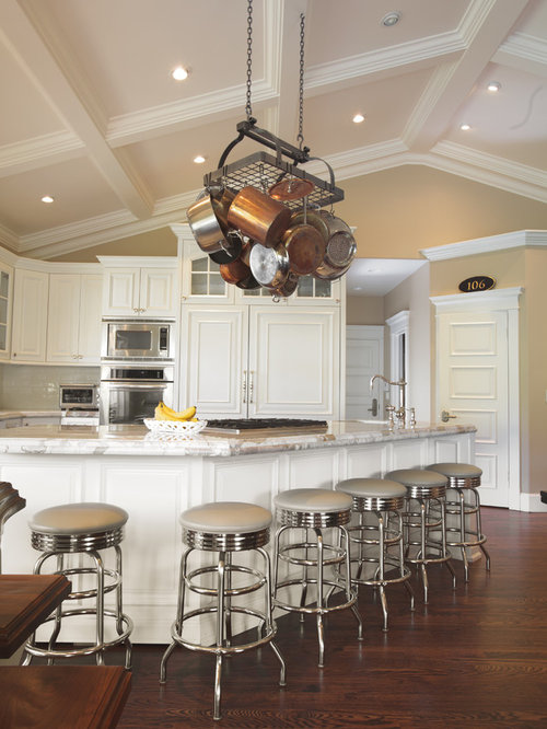 Vaulted coffered ceiling houzz for Vaulted kitchen designs
