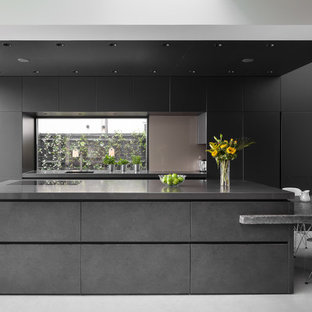 Ealing - sleek and dramatic monolithic design in graphite with wood elements