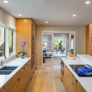 Contemporary kitchen with a double-bowl sink, flat-panel cabinets, medium wood cabinets and with island.