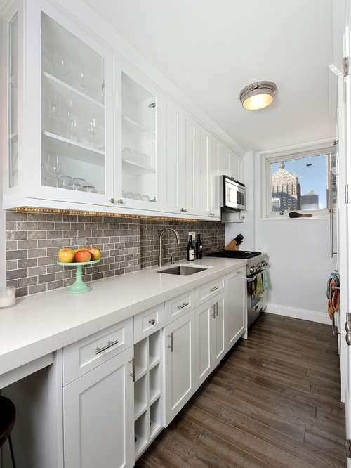 Gray Brick Backsplash Cool Gray Brick Backsplash  Houzz Inspiration