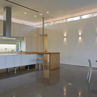 Ispirazione per una cucina minimalista con ante lisce, ante bianche, lavello sottopiano, top in acciaio inossidabile, paraspruzzi bianco, paraspruzzi con lastra di vetro, elettrodomestici da incasso, pavimento in cemento, isola, pavimento grigio e top grigio