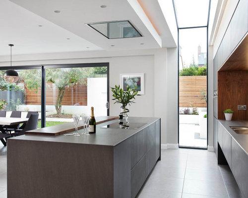 Inspiration pour une grande cuisine ouverte linéaire minimaliste avec un placard à porte vitrée et un