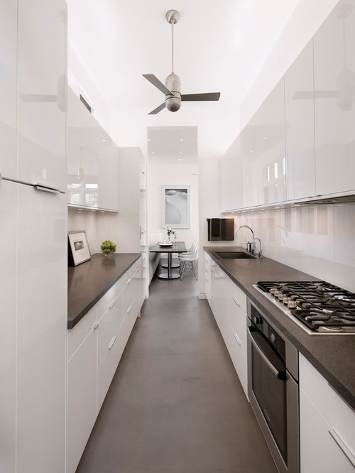 White Galley Kitchen Houzz